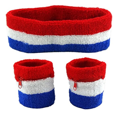 Funny Guy Mugs Sweatband Set (3-Pack: 2 Wristbands with Zipper/Wrist Wallet & 1 Headband), (80s Guys Costume)