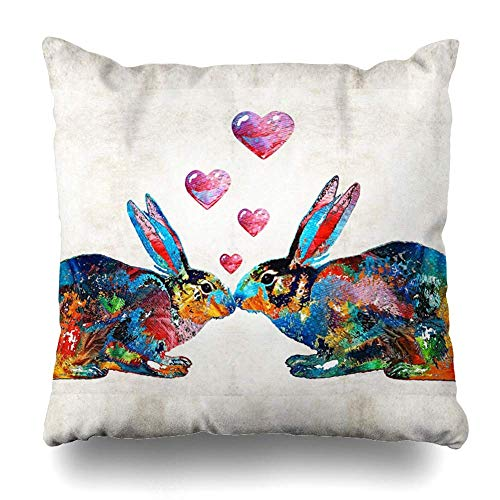NBTJZT Square 18x18 Inches Bunny Rabbit Art Hopped Up On Love by Sharon Cummings Decorative Pillow Case Home Decor Pillowcase (Pillow Cumming On)