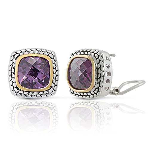 (JanKuo Jewelry Two Tone Vintage Style Amethyst Color Cubic Zirconia French Clip Earrings)