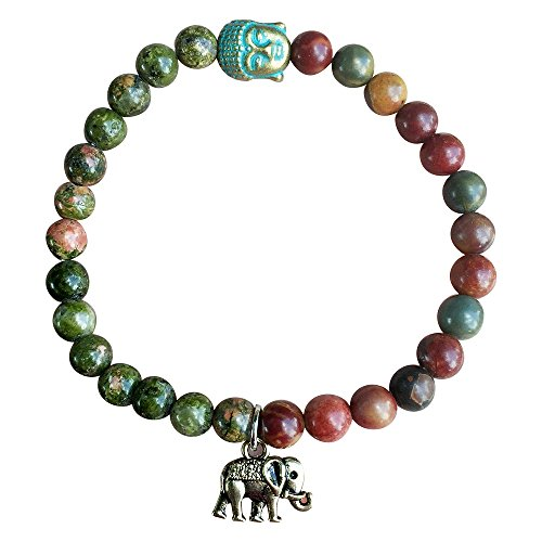 Green Jasper Bracelet (My Lucky Elephant Buddha Red, Rainforest, Green Jasper Stretch Bracelet Tibetan)