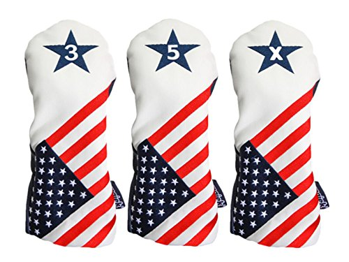 (USA 3, 5, X Headcover Patriot Golf Vintage Retro Patriotic Fairway Wood Head Cover Fits All Modern Fairway Wood Clubs)