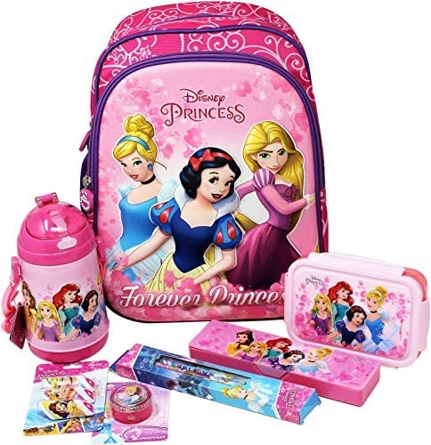 H M International Kid's EVA Disney Embossed Backpack Combo Pack with Lunch Box, Water Sipper Bottle, Pencil Box and Stationery