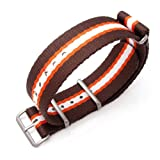 MiLTAT 22mm G10 NATO Watch Band, Extra Thick Nylon, Brown, Orange & White