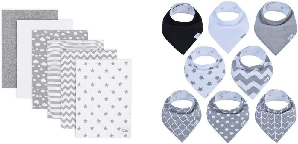 Burp Cloths 6 Pack and Bandana Bibs 8 Pack by Comfy Cubs