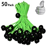 Ball Bungee 9 inch Premium Heavy Duty Elastic Cords 5mm Thick for Cable Tool Management Camping Tents Cabinet Locks 50 Pack