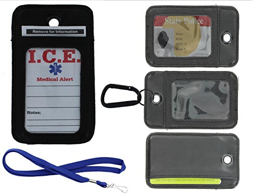 (EDOG I.C.E. Travel, Work & Medical Alert Security Neck Wallet | Lanyard | Key Chain Leather | Drivers License | Your Cards | Credit | I.D. | Cruise Ship| Access)