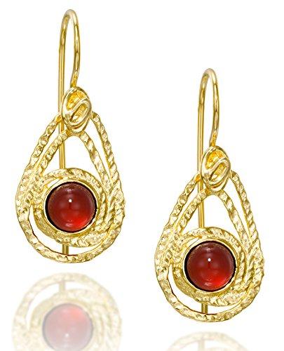 Teardrop Carnelian Earrings in 14k Gold Plated Sterling Silver With Decorative Design & Secure Backs (Carnelian 14k Earrings)