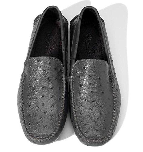 Happyshop (tm) Mens Falska Struts Läder Ventilerat Mockasin Slip-on Penny Loafers Mode Sneakers Lägenheter Mörkgrå