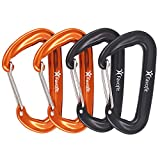 Favofit 12KN Heavy Duty Aluminium Carabiners (Weight Limit at 2697 lbs Each), Pack of 4, Wiregate Carabiner Clips for Hammock, Camping, Hiking, Backpacking, Dog Leash&Harness etc