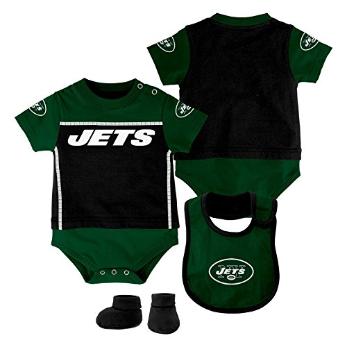 NFL New York Jets Creeper/Bib and Bootie Set, Youth 24 Months, Black