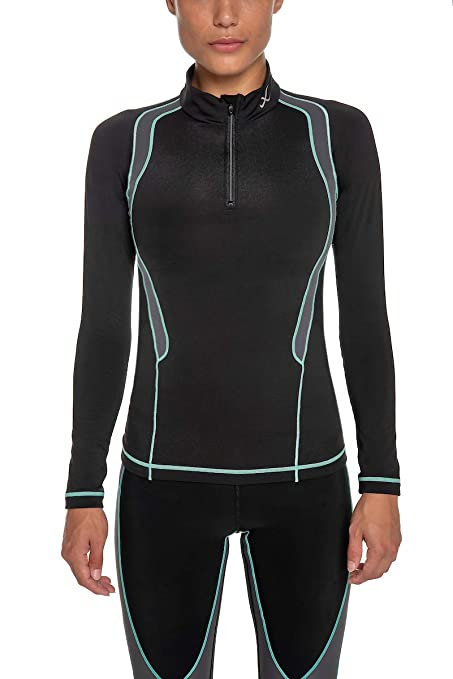 1d83f3f10518d CW-X Women's Long Sleeve Insulator Web Top, Black/Grey/Turquoise ...