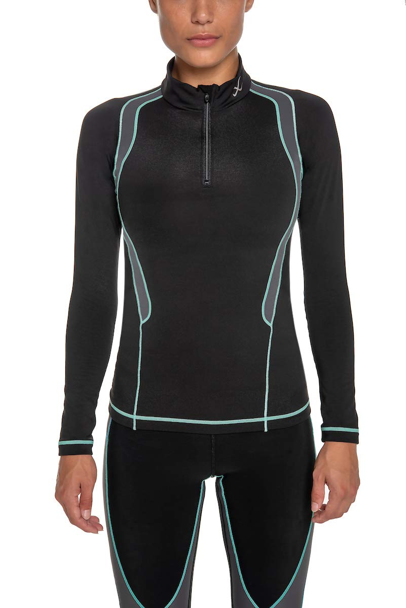 CW-X Women's Long Sleeve Insulator Web Top, Black/Grey/Turquoise, Small