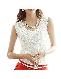 Amoin Women Lace Floral Crochet Knit Vest Tank Top Shirt