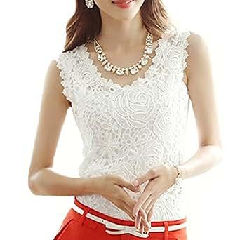 Amazon.com: Amoin Women Lace Floral Crochet Knit Vest Tank