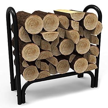 Elite Flame 28 Inch Indoor Outdoor Firewood Shelter Log Rack