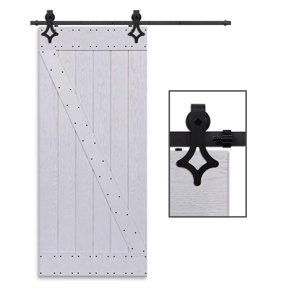 CCJH 6FT-183cm Quincaillerie Kit de Rail Roulette pour Porte Coulissante Ensemble Industriel Hardware kit pour Une Porte Suspendue en Bois