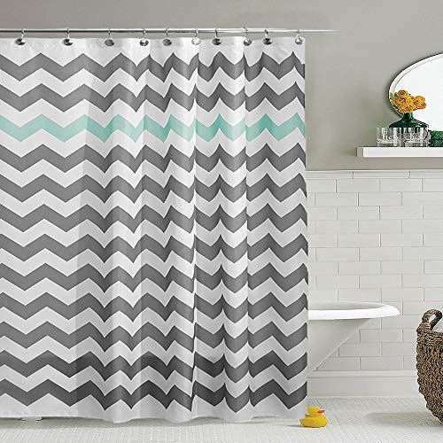 for Bathroom - Chevron Pattern Green Line Waterproof Fabric Mildew Resistant Washable Polyester Bathroom Curtain with White Plastic Hooks - 72
