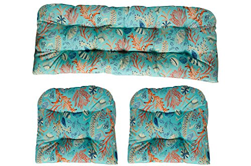 3 Piece Wicker Tufted Cushion Piece Set ~ Blue, Peach, White, Cream, Orange, Coral, & Red ~ Ocean Life ~ Coastal ~ Coral Reef (Set Loveseat White Wicker)