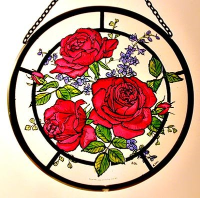 Decorative Hand Painted Stained Glass Window Sun Catcher/Roundel in a Red Roses Design.