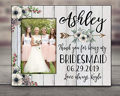 Personalized Bridesmaid Picture Frame Customized Name Photo Bridal Party Gift for Maid of Honor