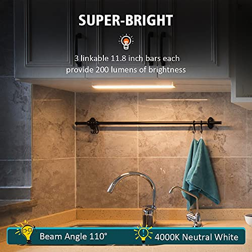 icever Under Cabinet Lighting Counter Lights 252 LEDs 3 Packs with ETL Listed Adapter, 11.8 Inch Plug in LED Closet Light for Kitchen, Shelf, Neutral White