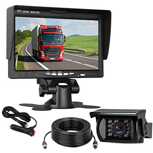 Cheap ZSMJ Backup Camera and Monitor Kit Reverse Camera Single Power for Rear View Full-time View Options Parking Assistance System Wired Waterproof for Truck