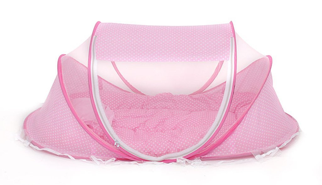 New Baby Crib 0-3 Years Baby Bed With Pillow Mat Set Portable Foldable Crib With Netting Newborn Cotton Sleep Travel Bed -Pink xff