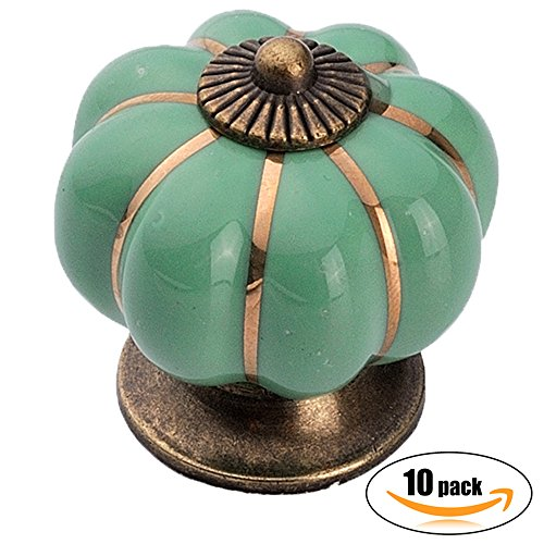10pcs Antique Pumpkin Ceramic Door Knobs, Handles Pulls for Cabinets, Cupboard Dresser, Drawers, Kitchen Furniture or Kids Room (Celadon Green)