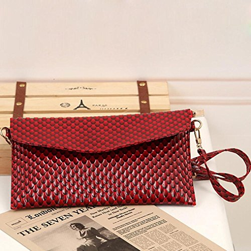 Leather Handbag Ouneed Body Women Envelope Fingerprint Bags Red Satchel Shoulder Cross IzI8xqrw