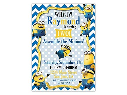 Custom Minions Birthday Party Invitations for Kids, 10pc-100pc 4