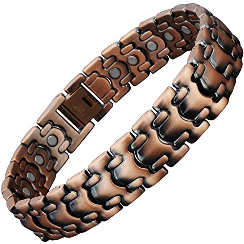 Signature Stainless Steel Bracelet - Copper Link Bracelet for Men Copper Magnetic Therapy Bracelet for Arthritis Pain Relief Small Medium Extra Large Stainless Steel Magnetic Bracelet-CS1 (9.5 in / 24 cm)