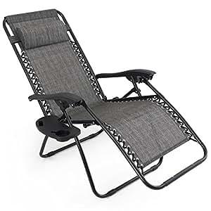 2Pcs. Lounge Folding Recliner Chairs Outdoor Zero Gravity Beach Patio Pool Yard Gray