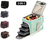 : Evolutionize Meal Prep Insulated Lunch Bag - Meal Prep Cooler Bag Patent Pending Lunch Box includes Portion Control Meal Prep Containers + Ice Pack (3 Meal, Mint)