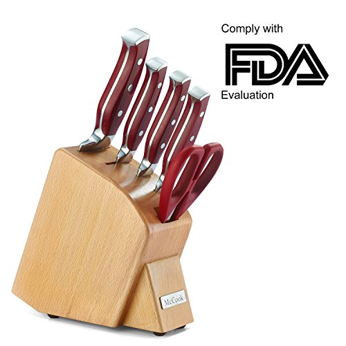 McCook MC40 6 Pieces Forged Triple Rivet Kitchen Knife Set in Natural Beech Wood Slim Block Approved by FDA (Red)