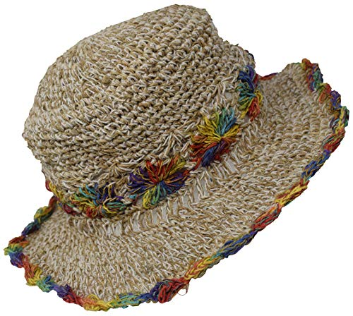 (Gheri Hemp Cotton Straw Sun Hat Panama Wide Brim Summer Holiday Straw Colorful Rainbow M)
