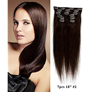 "Mike & Mary Clip in 18"" 7pcs STW Straight Clip in Hair Extensions 70grm 7pcs Set with 16 Clips 100% Remy Human Hair (Darkest Brown #2)"