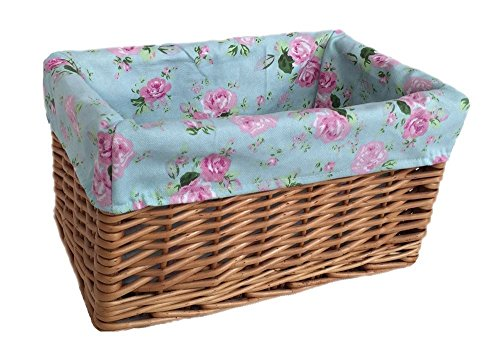 Small Double Steamed Cottage Rose Willow Storage Baskets by Red Hamper