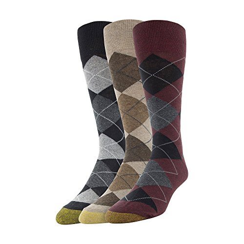 - Gold Toe Men's Carlyle Argyle Crew Socks, 3 Pairs, Oxblood/Taupe/Black, Shoe Size: 6-12.5