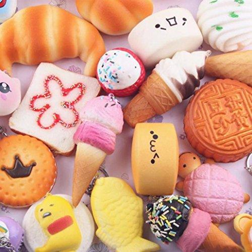 Livoty 5pcs Medium Mini Soft Squishy Bread Toys Key Fidget toy (A) (Garbage Bag Body Halloween)