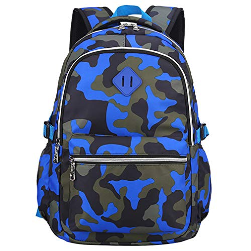Yvechus School Backpack Casual Daypack Travel Outdoor Camouflage Backpack for Boys and Girls (Camo Blue)