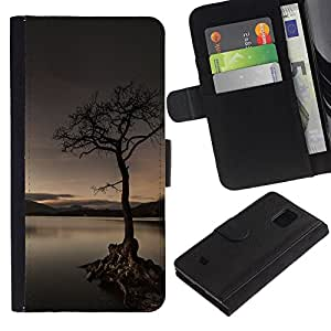 Stuss Case / Funda Carcasa PU de Cuero - Solitaria Lago Árbol - Samsung Galaxy S5 Mini, SM-G800