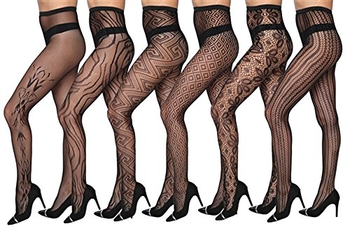 Isadora Paccini Women's 6-Pack Fishnet Lace Pantyhose Tights, One Size Fits Most, Black 815