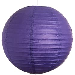 Hometown Evolution, Inc. Round Party Wedding Lanterns (12 Inch, Purple Even Ribbed Paper Lanterns)
