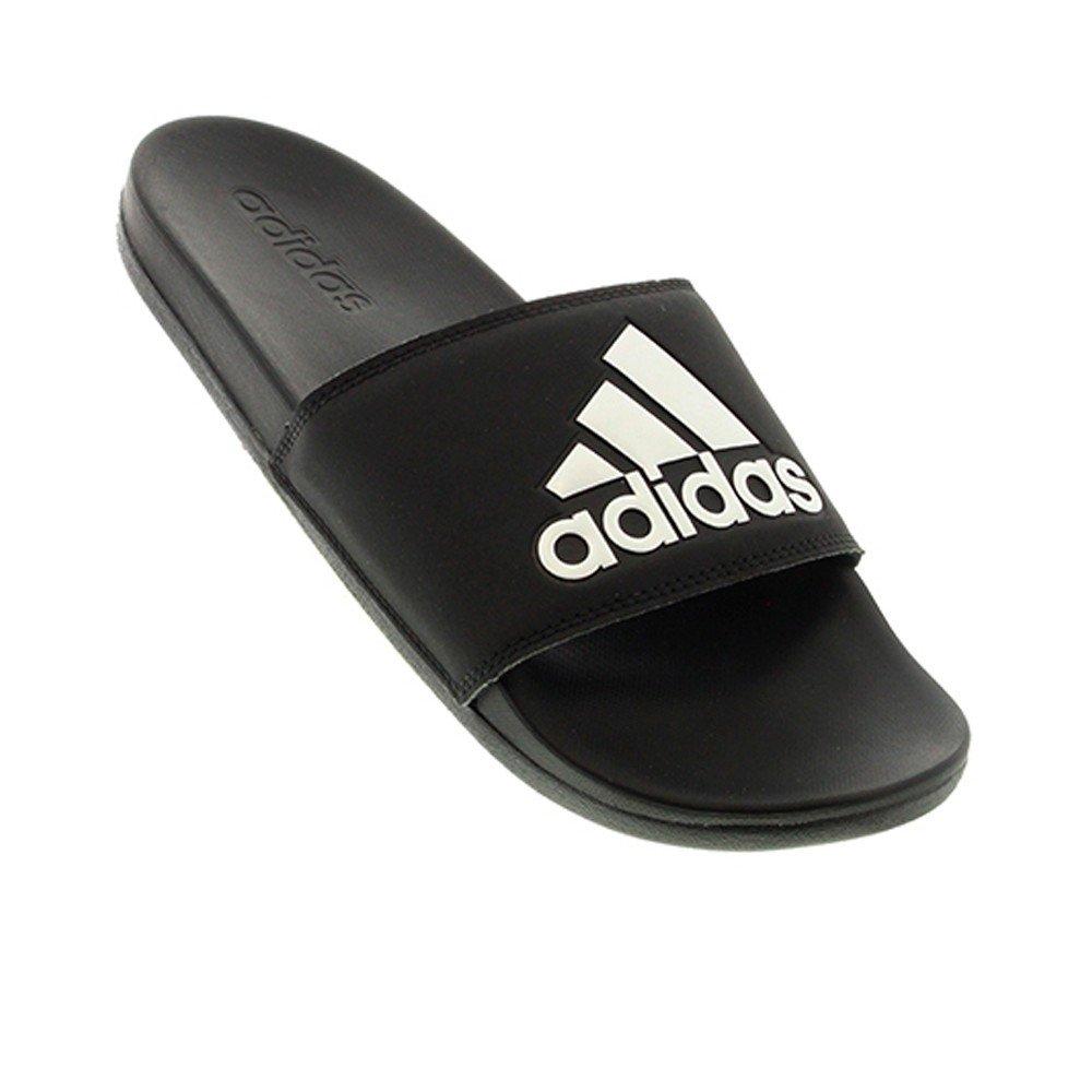 adidas Men's Adilette Comfort Slide Sandal Black/White, 12 M US