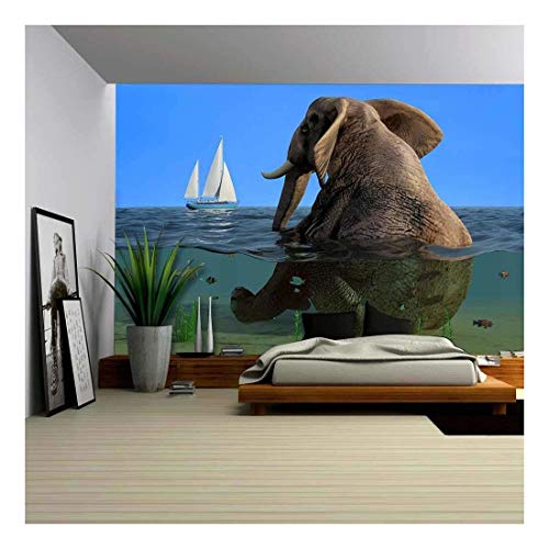 wall26 - the Elephant is Sitting in the Water. - Removable Wall Mural | Self-adhesive Large Wallpaper - 100x144 inches ()