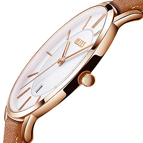 OLEVS Men Watches,Ultra Thin Wrist Watches,White Dial Leather Men Watches,Rose Gold Leather Minimalist Watch 30M Waterproof Watch for Men,Slim Dress Watches for Men,Business Wrist Watch for Men