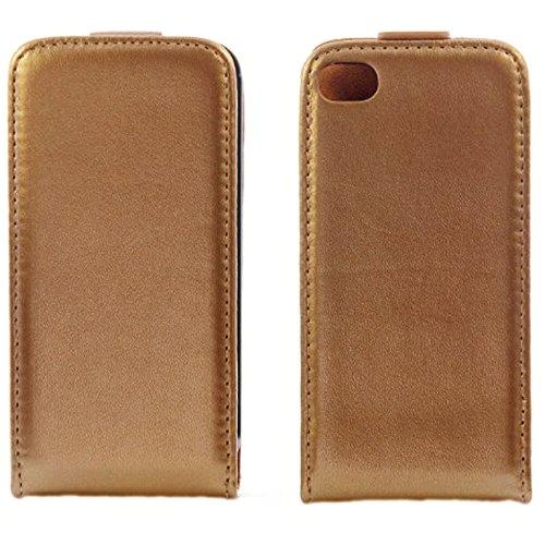 handy-point Klapptasche, Klapphülle, Tasche, Schutzhülle, Hülle, Schale, Flip Case für iPhone 4 4S, Goldig