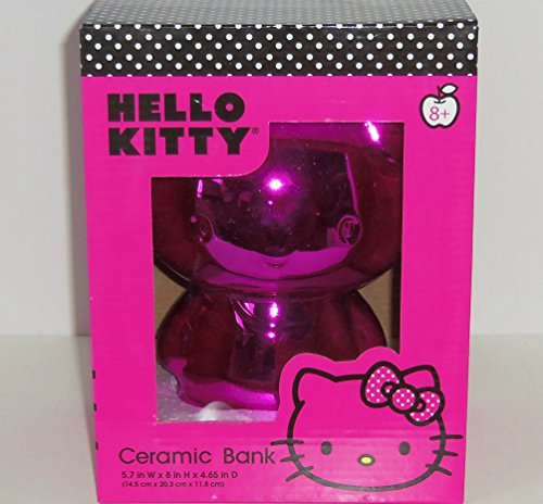 [Hello Kitty Pink Bow Electroplated Silver Finish Ceramic Bank for Girls in Gift Box] (Hottest 12 Year Old Girls)