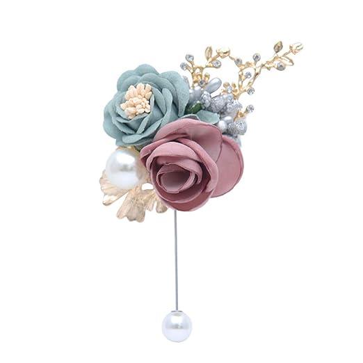 Tubicu Novio Novia Solapa Artificial Rose Flor Pin Boda ...
