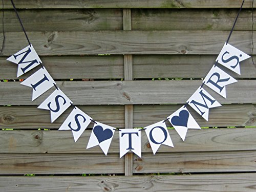 Miss To Mrs banner - Navy and White Bridal Shower Decoration